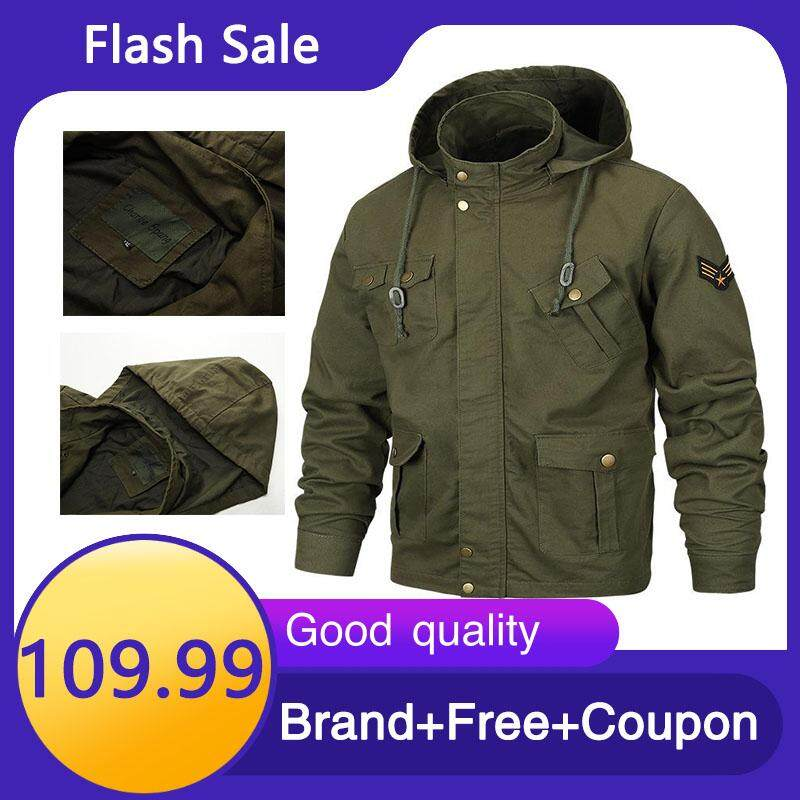 ffea7c5b Fall Winter Men's Hats Pure Colors Body building Pure Cotton Water washed  Jackets Large Size Leisure