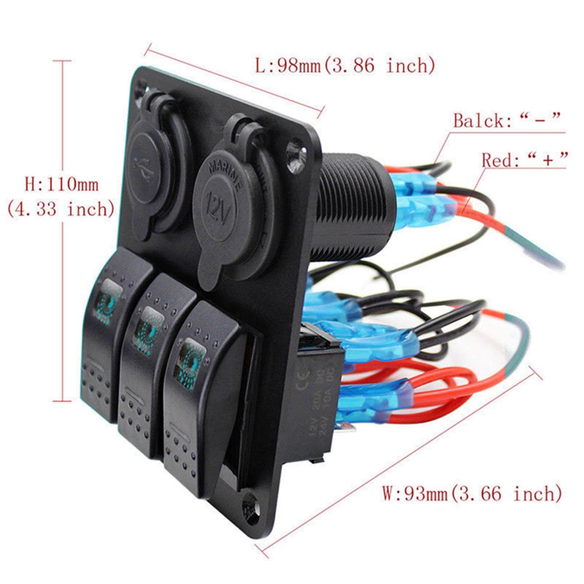 Other Electrical Switches 4 Gang Car Boat Marine LED 12V/24V USB Switch Panel Automotive Toggle Rocker