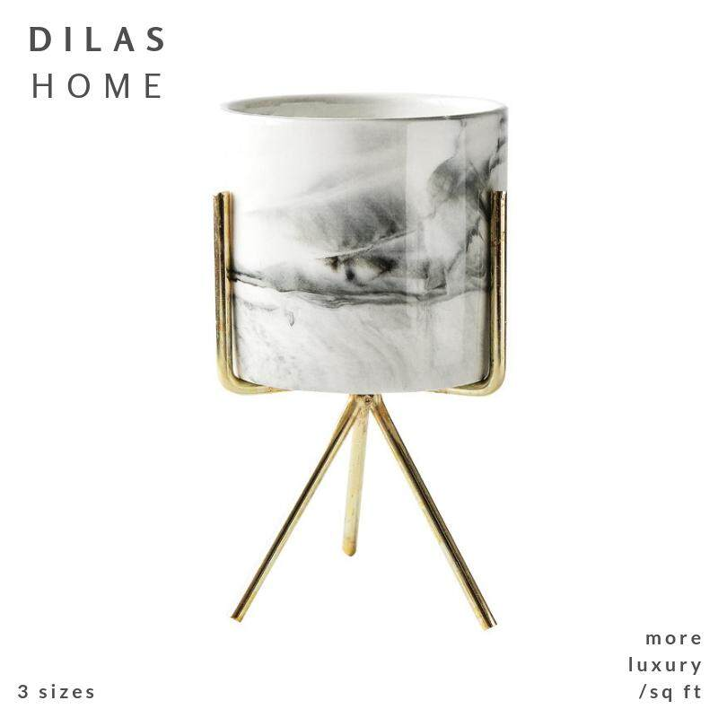 DILAS HOME  Marble Succulent Flower Plant Pot with Gold Holder Wire Tripod Stand