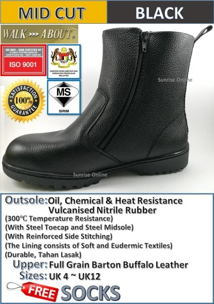 WALK ABOUT ZIP-UP SAFETY SHOES - MID ANKLE CUT BOOTS (DURABLE, HEAVY DUTY, INDUSTRIAL USE, COMFORTABLE) [Kasut Safety Yang Terbaik]
