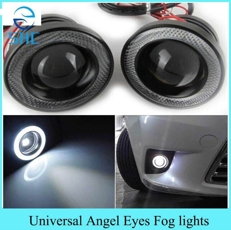 Mobil SHC 1 Set 2.5 Lampu COB Angel Eyes Lampu Kabut LED Lampu Depan Mobil Lampu DRL Universal Siang Hari Berjalan Lampu-Merah (76 MM)
