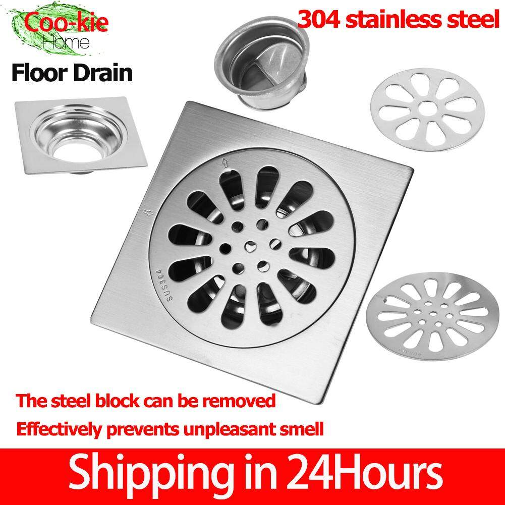 【Shipping in 24 hours】Thick Stainless Steel Drain Square Anti-odor Bathroom Floor Drain Cover Waste Gate Shower Drainer