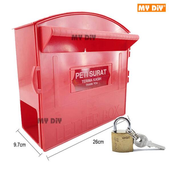 DIYHARDWARESTATION - Letter Box With Holder / Post Box With Paper Holder / Mail Box / PVC Post Letter Box / Red Plastic Mail Box / Peti Surat Plastic