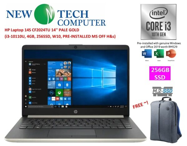 HP 14S-CF2024TU GOLD LAPTOP (I3-10110U,4GB,256GB SSD,WIN10) FREE MS OFFICE H&S 2019 Malaysia