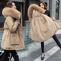Mùa đông áo khoác phụ nữ áo khoác nhân tạo Raccoon cổ áo tóc nữ parkas đen dày bông độn lót Ladies coats