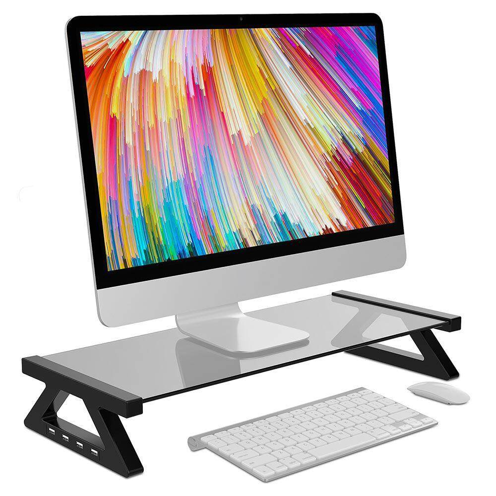 OrzBuy USB Monitor Stand,Desktop Stand TV Laptop Riser Support TV Stand Shelf Organizer With 4 2.0 USB Ports For Computer/Laptop/Printer
