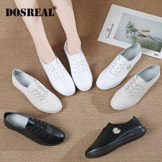 DOSREAL Giày Oxford Cho Nữ Giày Da Trắng Phong Cách Hàn Quốc Giày Nữ Đế Mềm Thường Ngày thumbnail
