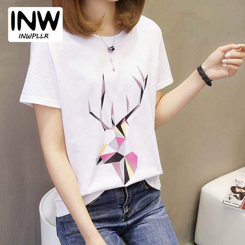 788395ea400 INWPLLR Women s Fashion Tops Casual Geometric Elk Print Tshirts Summer  Women Tees Korean Short Sleeve T