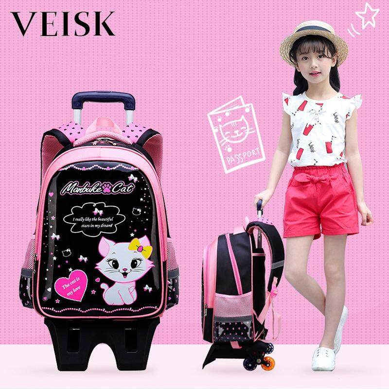 Veisk Primary School Students Bag Three-six Round Stairs Children Trolley Bag