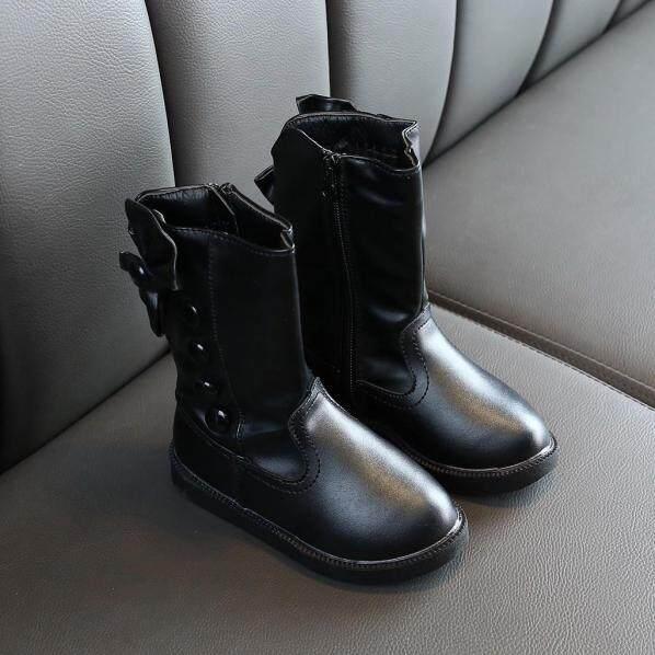 Giày Bốt Nữ BULL Năm Mới Giày Bốt Cổ Thấp Ấm Áp Thắt Nơ Cho Bé Gái Trẻ Em Mùa Đông Công Chúa Giày giá rẻ
