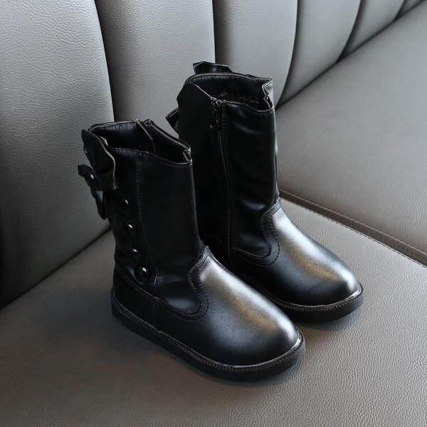 Giá bán Giày Bốt Nữ BULL Năm Mới Giày Bốt Cổ Thấp Ấm Áp Thắt Nơ Cho Bé Gái Trẻ Em Mùa Đông Công Chúa Giày