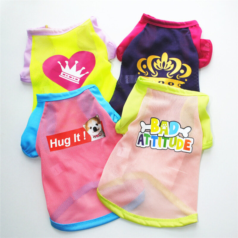 Jianjia28 mùa hè 4 màu Puppy Net Heart Crown Letter in thoáng khí quần áo mèo dễ thương quần áo chó cho thú cưng nhỏ shih tzu