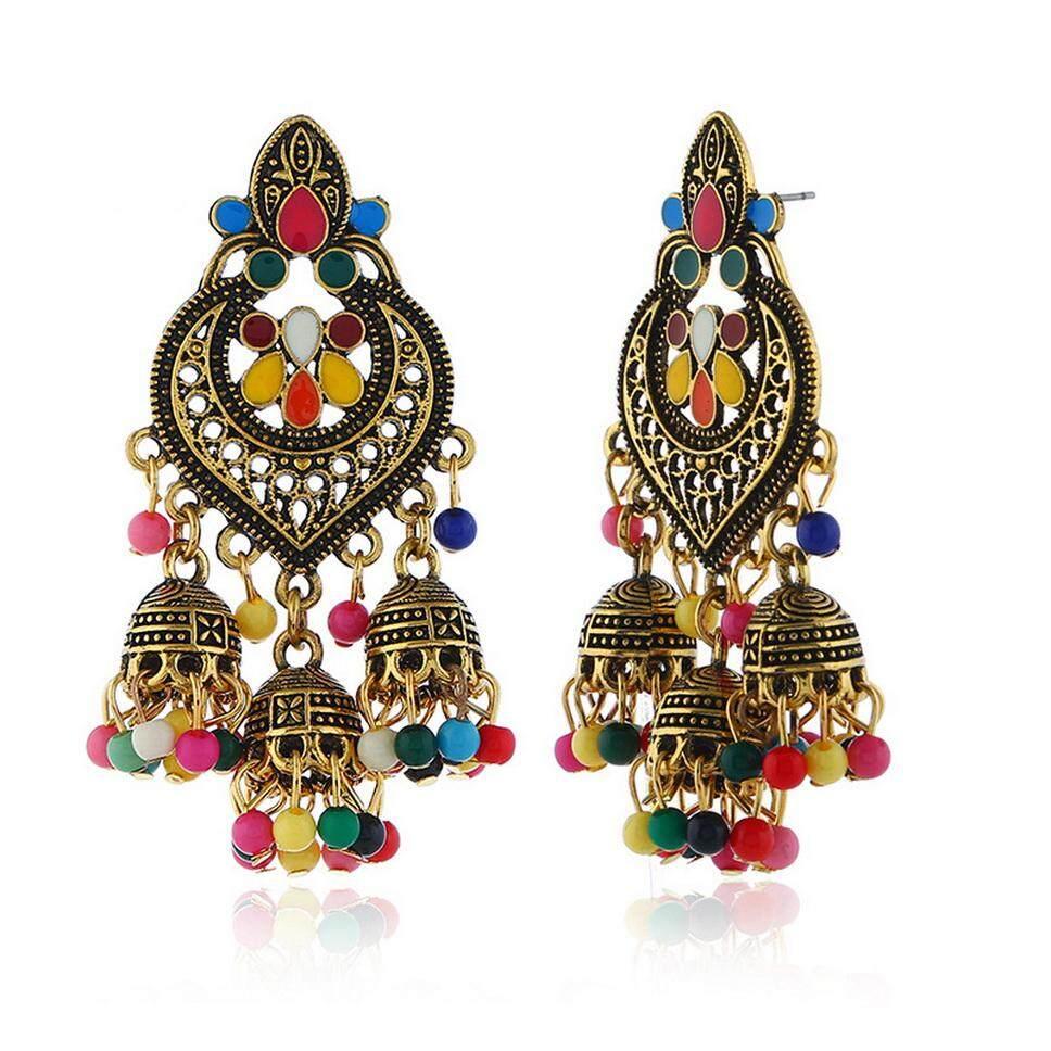 Vintage Bohemian Telinga Stud Anting-anting Menjuntai Eksotis Lentera Telinga Perhiasan Liontin untuk Wanita