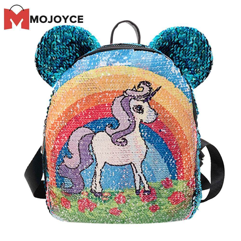 MOJOYCE Fashion Sequins Children Backpack PU Leather Girl Cartoon Cute Schoolbags