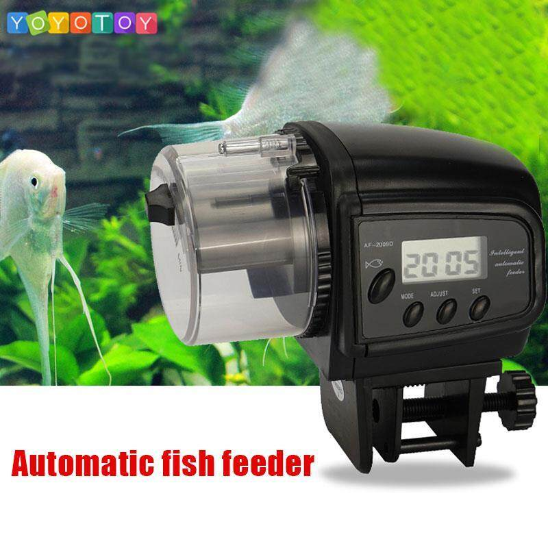 Fitness Fish Food Feeder Flake Aquarium Auto Mini Shape Tank Black Pellet Patented Design