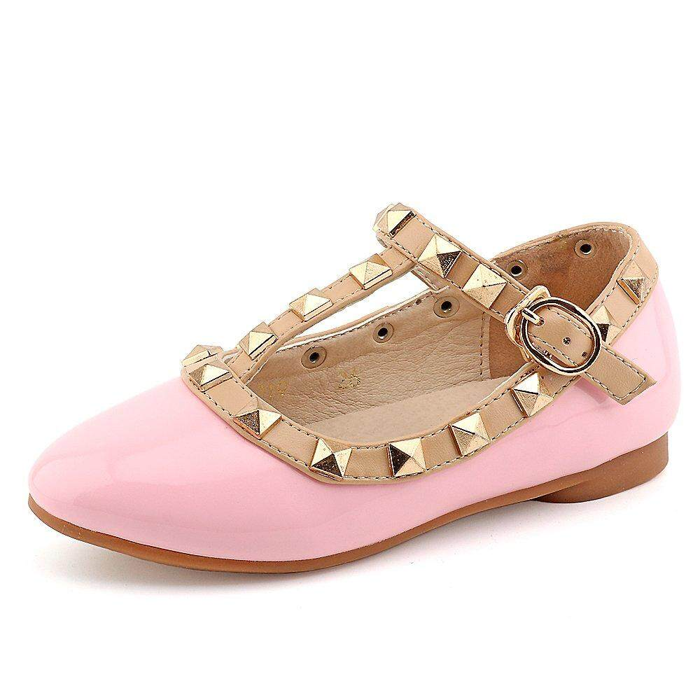 Toddler Little Kid Baby Girl Studded T-Strap Flat Shoes for Child 31f7aa5d3252