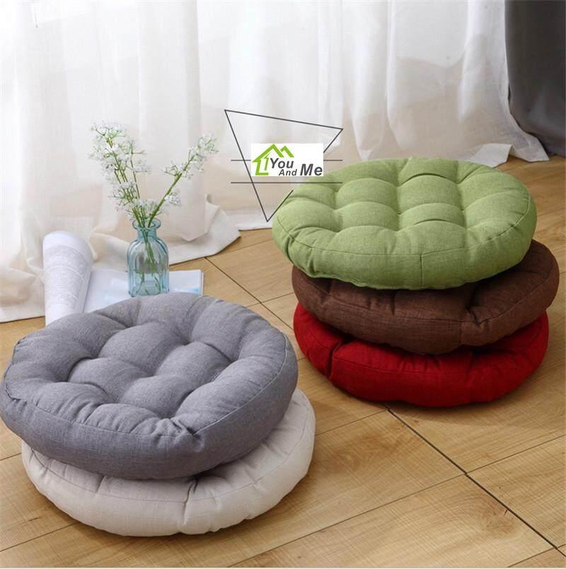 Round Shape Cotton Linen Cushion Pad Yoga Mat Tatami Floor Window Chair Seat Mat 45x45cm