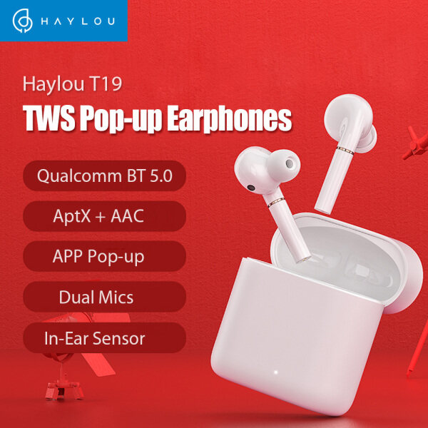 Global Version Haylou T19 TWS+ Earphones Pop-up Phone In-ear Earbuds APTX AAC Dual Microphones Wirelss Wired Charging For Android iOS PK Mi Airdots Singapore