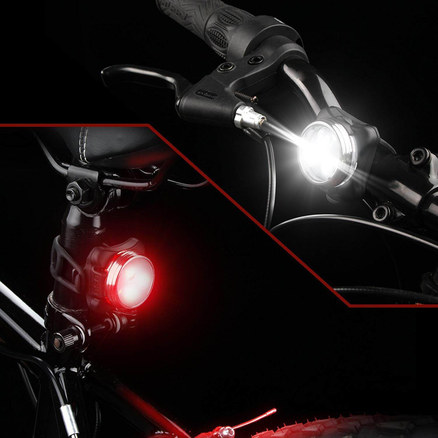 USB Rechargeable Cycling Bike Bicycle Front LED Head Light+Rear Safety Lamp Set