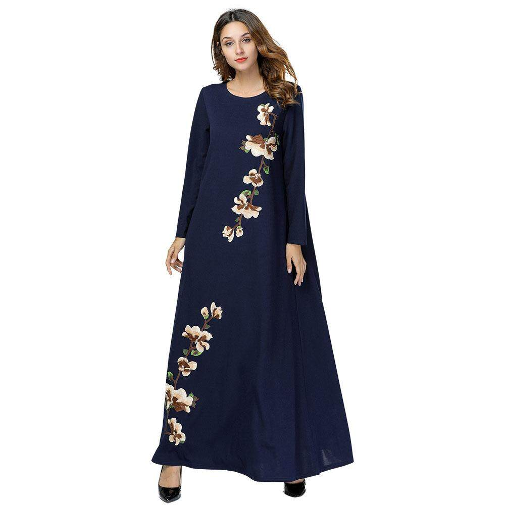 c21d594488d6 Muslim Embroidery Abaya Floral Maxi Dress Cardigan Long Robes Tunic Kimono  Ramadan Islamic Prayer Clothing Worship