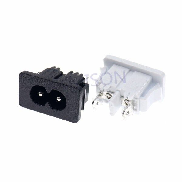 10pcs/lot IEC320 C8 Male Plug Power Inlet Socket Firgure 8 2Pin PCB Panel Socket AC Power Outlet Connector AC 250V 2.5A/5A