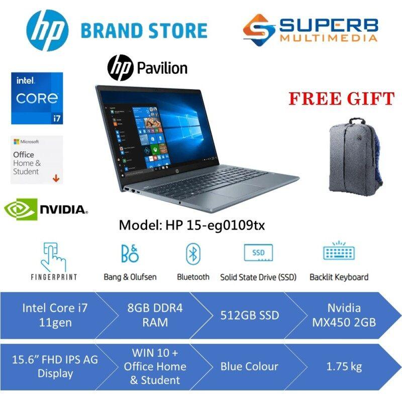 HP Pavilion Laptop 15-eg0109TX (Intel Core i7 11Gen, 8GB RAM, 512GB SSD, Nvidia MX450 2GB, 15.6 FHD IPS, Win10, OPI, Blue) Malaysia