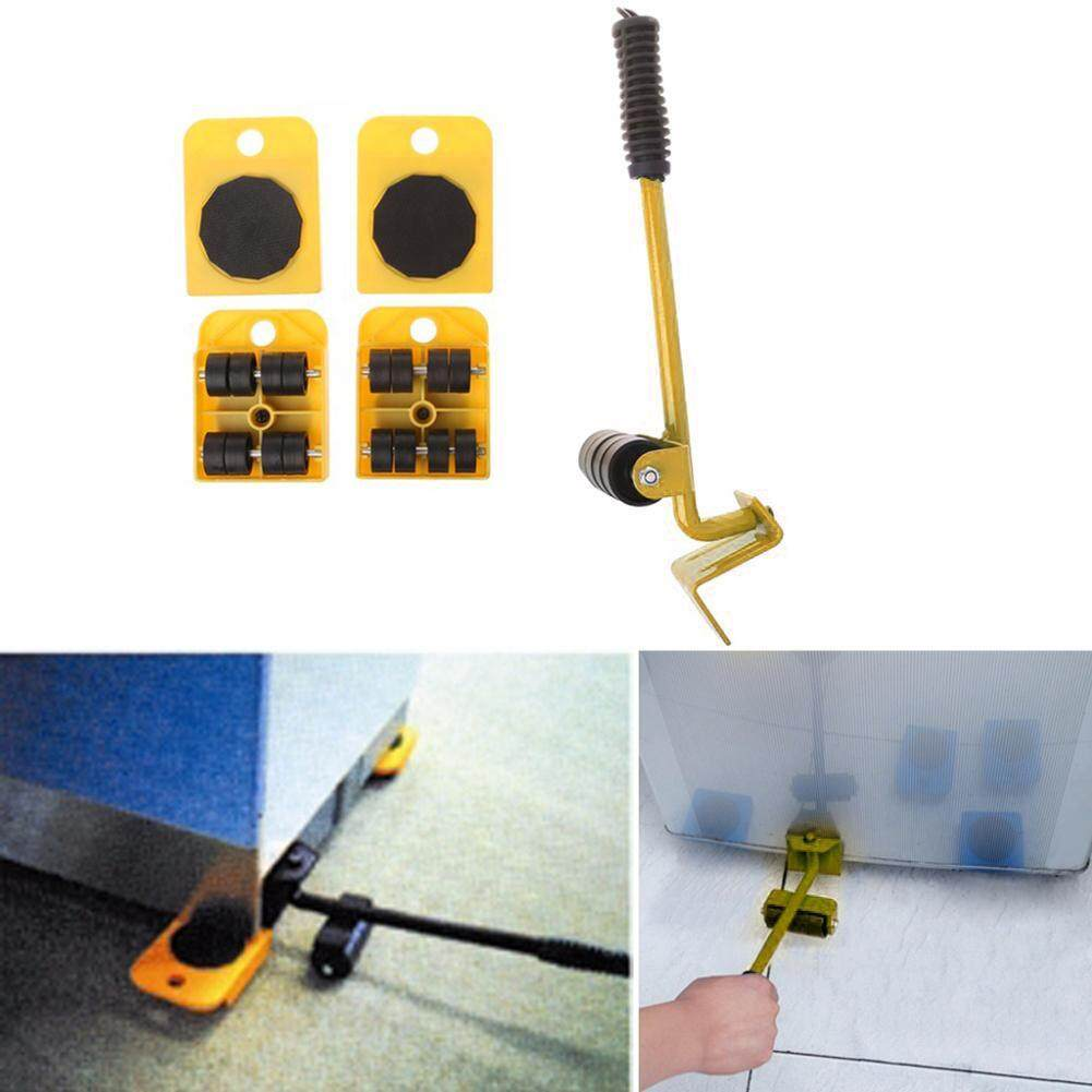 [Bside Tool Store] 4 Wheeled Mover Roller+1 Wheel Bar Furniture Transport Lifter Hand Tool Set(Yellow)