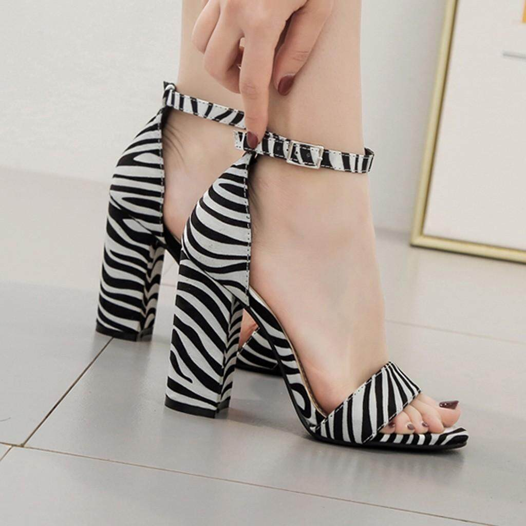 Guo Peep Toe Zebra Striped High Heel Sandals Buckle Strap Women Square Heel Shoes By Hongshouguostore.