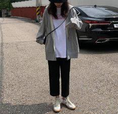Áo Khoác Nữ, Áo Khoác Đường Phố Ngoại Cỡ Phong Cách Harajuku Cho Nữ, Có Mũ, Màu Đen Trơn, Đơn Giản, Thời Trang Mùa Xuân