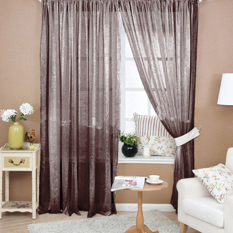 (Có Sẵn) Rèm Cửa Sổ Màu Trơn Diềm Vải Voan Hoa Xuyên Thấu Cho Phòng Ngủ