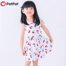 PatPat 100% Cotton Cổ Tròn Không Tay Cherry In Váy Cho Bé Gái Mới Biết Đi-D