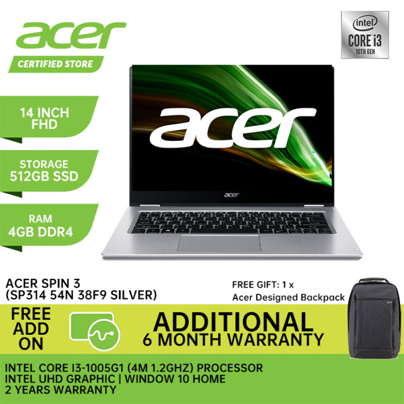 Acer New Laptop Spin 3 38F9 ( 14 Inch Full HD Touch Screen / Intel Core I3 1005G1 / 4GB Ram Intel GraphIc / Window 10 / 2 Years Warranty) Malaysia