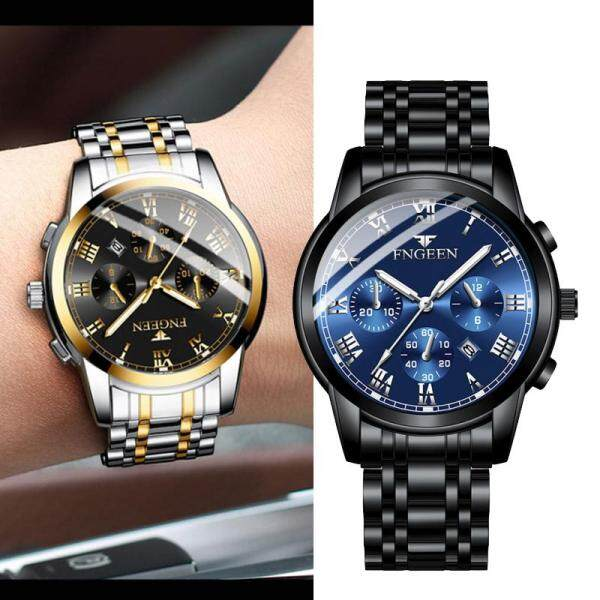 New FNGEEN Mens Watches Top Luxury Brand Mens Quartz Steel Belt Watch Waterproof Sport Wristwatch Men Calendar Business Clock Malaysia