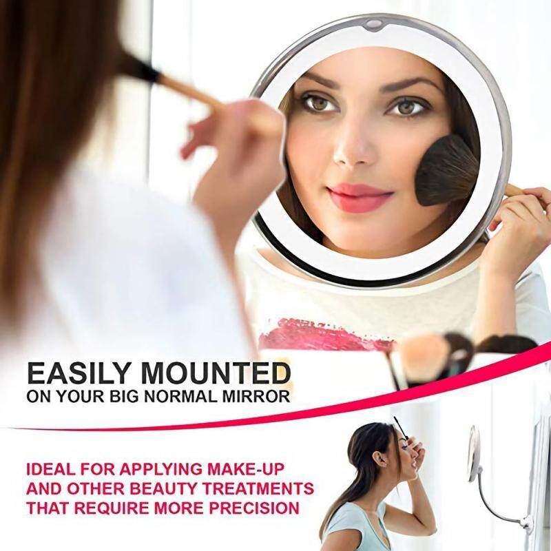 5X Gấp LED Có Đèn Gương Trang Điểm Xoay 360 Vanity Mỹ Phẩm có Gương