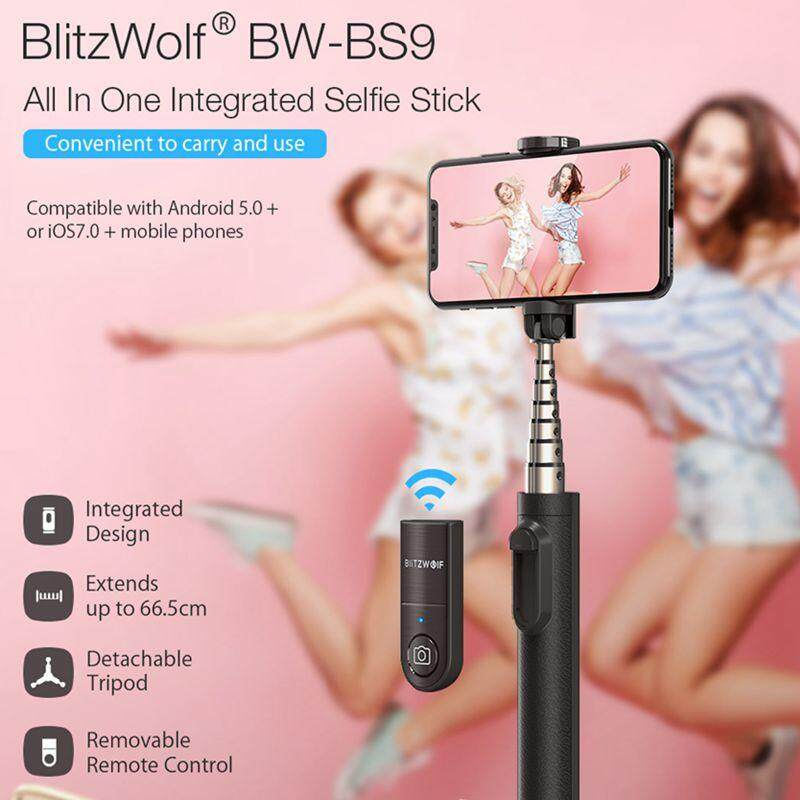 BlitzWolf BW-BS9 MINI All In One Integrated Bluetooth ที่ถอดออกได้ไม้เท้าเซลฟีขาตั้งสามขาสำหรับกล้องกีฬาโทรศัพท์