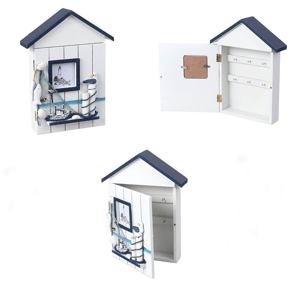 Mediterranean House Key Storage Holder Case Wall Mounted Wooden Storage Box (Blue Top Single Bird)