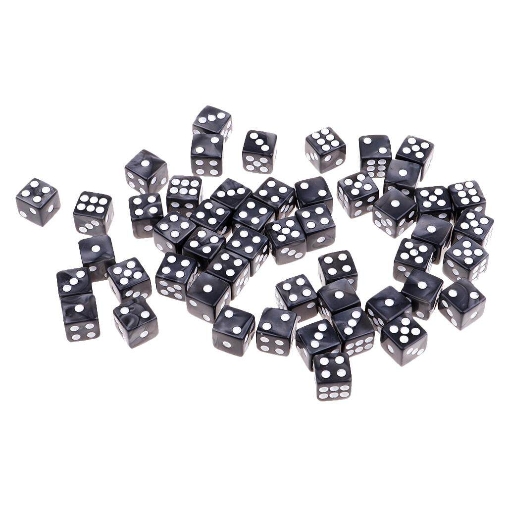 Kesoto 50pcs Acrylic Six Sided Dices 12mm D6 Dice for D&D DnD RPG Party Game