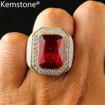 Kemstone แฟชั่นชุบทองแหวนแหวนคริสตัลสีแดงสำหรับชาย-