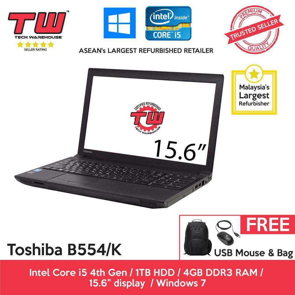 Toshiba Notebook B554/K Core i5 4th Gen 2.50GHz / 4GB RAM / 1TB HDD / Windows 7 Laptop / 3 Month Warranty (Factory Refurbished) Malaysia