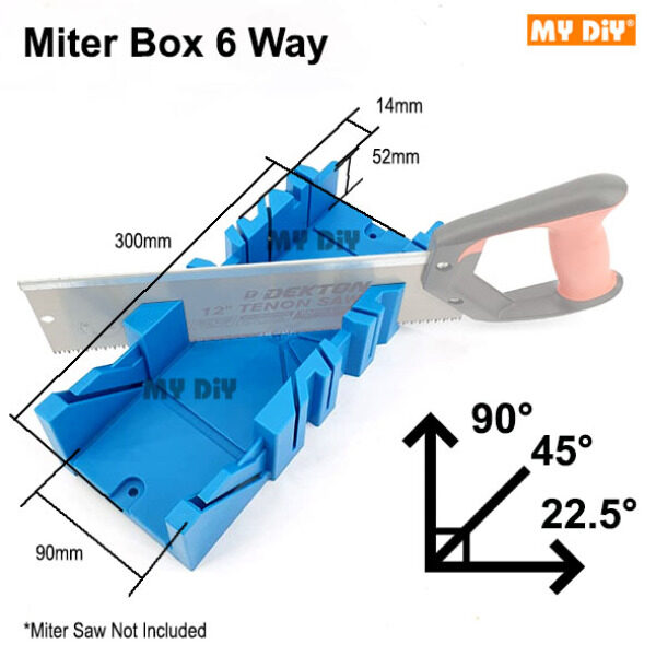 MYDIY Online2u - 300MM 12 Miter Box Saw 22.5 45 90 Degree 6 Cutting Edge Angle Cutting Saw Degree Miter Box Saw Combo Set