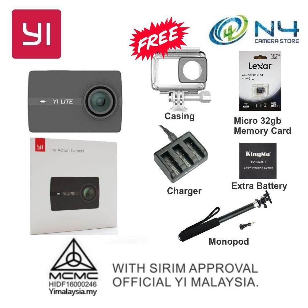 Yi Lite Action Camera + Casing + Micro 32gb Memory Card + Kingma Charger &  Battery + Monopod (International 1 To 1 Exchange Warranty)