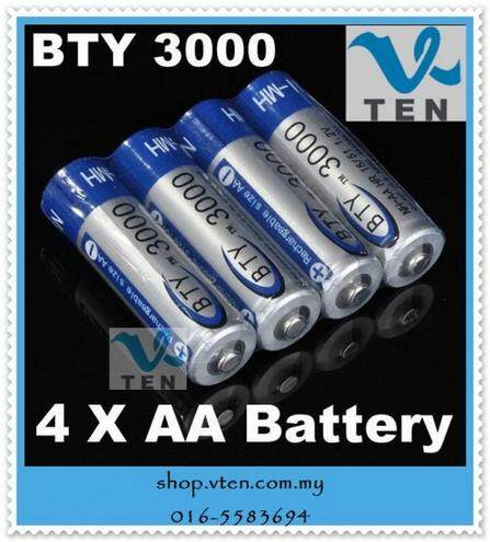 4pcs/pack 4 Pcs Bty 3000 1.2v Aa Ni-Mh Rechargeable Battery Batteries By V Ten Click & Buy.