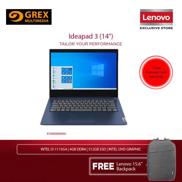 LENOVO IDEAPAD 3 IP3 14ADA05 81W000RWMJ LAPTOP (ATHLON 3150U,4GB,256GB SSD,14 HD,RADEON GRAPHICS,WIN10) FREE BACKPACK Malaysia