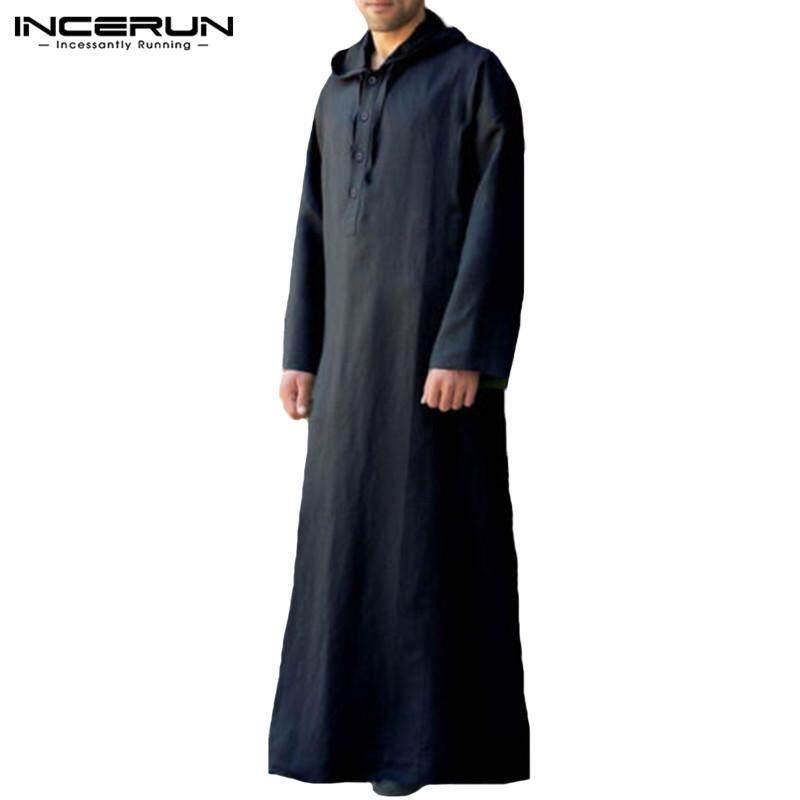 e7a9cff6aab5 INCERUN Men Long Maxi Muslim Clothing Dress Shirts Hoodies Arab Thobe Jubba  Kaftan Robes