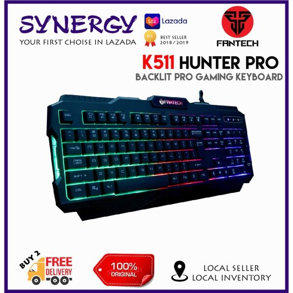 FANTECH  HUNTER-PRO K511 Rainbow Backlit Pro Gaming Keyboard with 12 Advance Multimedia Mode For Gaming PC/Laptop Malaysia