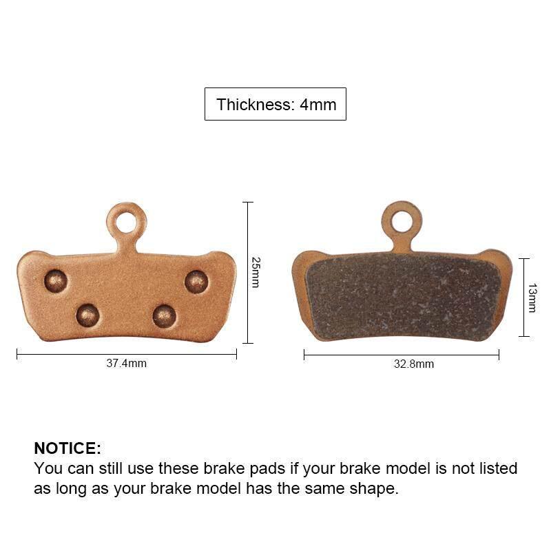 BIKEIN 2 Pairs MTB Sintered Disc Brake Pads For SRAM Guide RSC//RS//R Avid XO E7