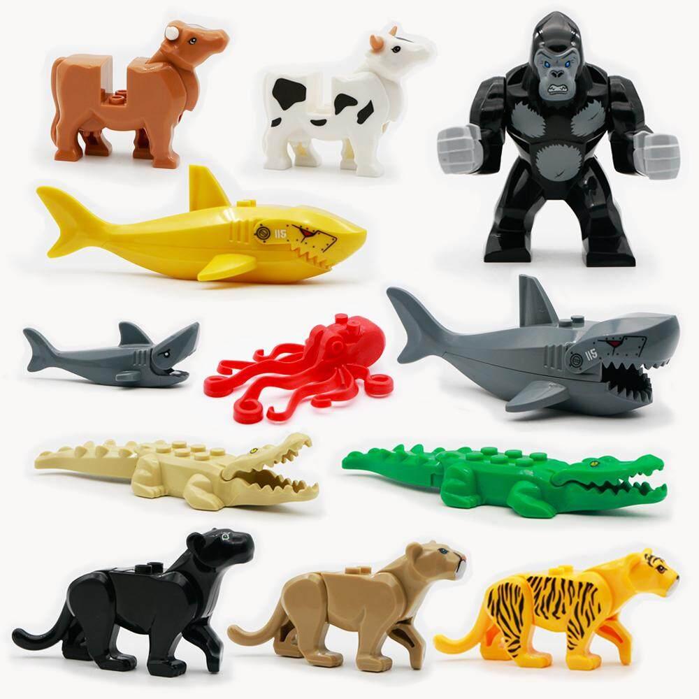 12PCS Crocodile Tiger Cow Buildable Model Kids Animal Building Block Fit LEGO
