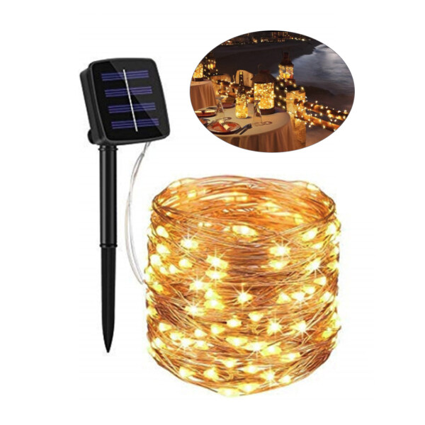【in stock】Solar String Lights Outdoor, 20m 200 LED Solar Powered Fairy Lights Waterproof Decorative Lighting for Patio Garden Yard Party Wedding