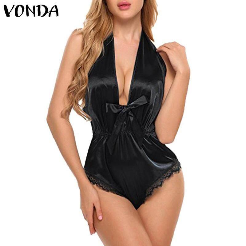 f2232257b2 VONDA Women Swimming Costume Deep V Neck Halter Bow Swimwear Backless Sexy  Swimsuit