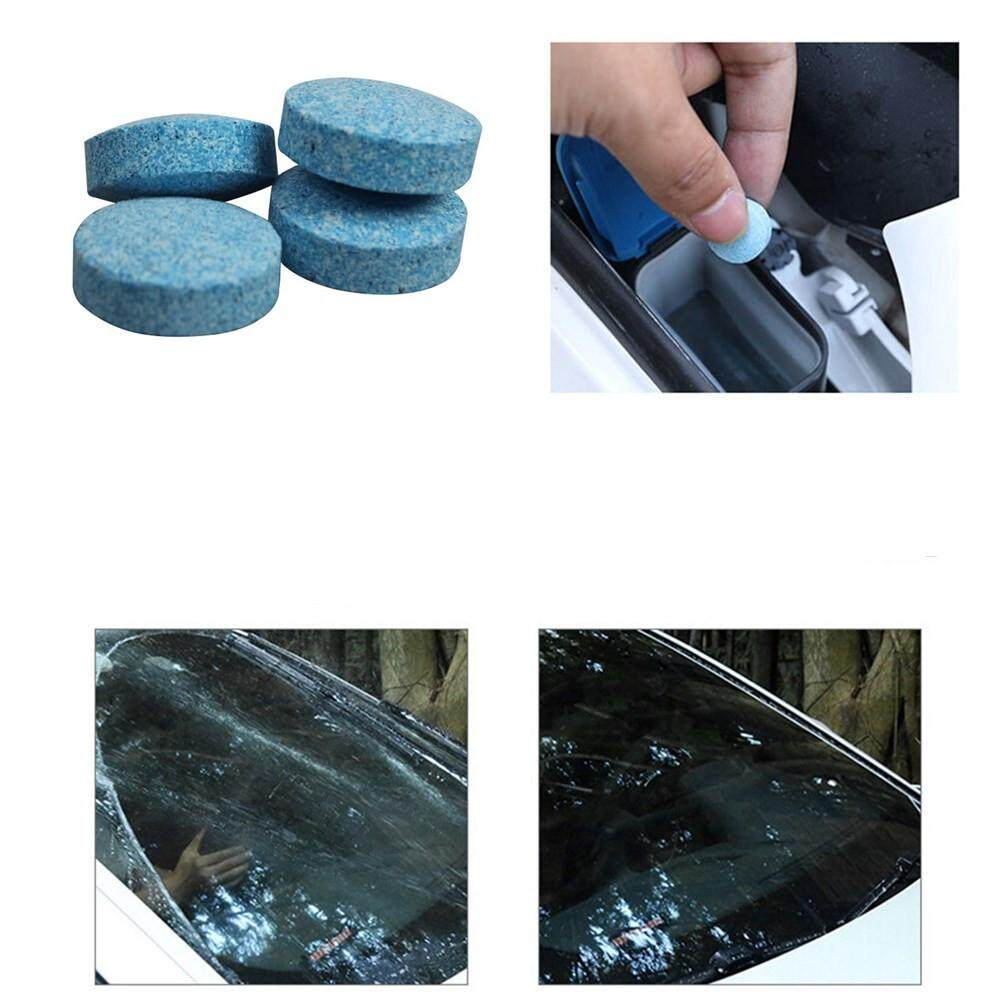 Car Clean Effervescent Tablets,10pcs Auto Windscreen Cleaner Car Side Rear Window Cleaning Solid Wiper Effervescent Tablets